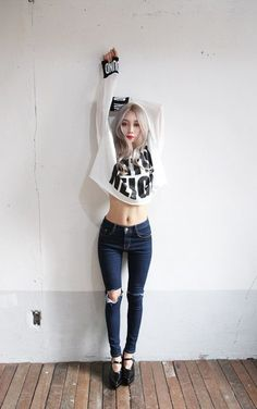 ★ ★ ★ ★ four stars (white cropped long sleeve shirt with black printed words and black cuffs with white printed words, dark wash ripped skinny jeans, black mary janes with platforms)