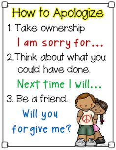 How to Apologize poster & Great Books to Build a Classroom Community Social Skills Lessons, Teaching Social Skills, Social Emotional Learning, Coping Skills, Help Teaching, Life Skills, Character Education, Kids Education, Physical Education