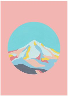 MOUNTAINSCAPE IN DUSTY PINK