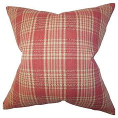 "Pillow with a barn red plaid motif. Made in the USA.  Product: PillowConstruction Material: Polyester and cotton cover and high fiber polyester fillColor: Barn redFeatures:  Insert includedHidden zipper closureMade in the USA Dimensions: 18"" x 18""Cleaning and Care: Spot clean"