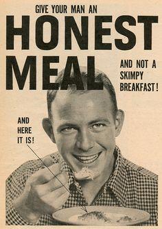 """""""… not a skimpy breakfast!"""" Farm Journal, 1952"""