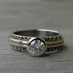 Moissanite, Recycled 14k White Gold, and Recycled Sterling Silver Ring - Eco-Friendly Diamond Alternative - Made to Order. $698.00, via Etsy.