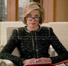 Diane's black tweed jacket with silver trim on The Good Wife.  Outfit Details: http://wornontv.net/54285/ #TheGoodWife