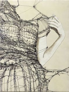 """Andrea Benson: """"Unravelling 2"""" As far as I can tell from her website, this is a drawing on wood panel. However, I have gone back to this image over and over again with the idea of creating imagery with those being actual threads."""