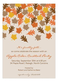 Polka Dot Design Finally Fall Invitation. The cute falling leaves allow you celebrate in style with a fall cocktail or potluck party!