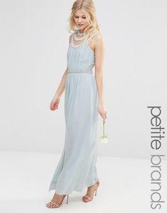 TFNC Petite | TFNC Petite High Neck Embellished Maxi Dress at ASOS