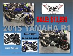 New 2015 Yamaha YZF-R1 Motorcycles For Sale in Oklahoma,OK. 2015 Yamaha YZF-R1, 2015 Yamaha YZF-R1 MotoGP-Inspired The new YZF-R1 blurs the line between MotoGP and production superbike like never before. Features May Include The 2015 YZF-R1 features a completely new, lightweight and compact, crossplane-concept, inline-four-cylinder, 998cc high-output engine. Featuring a first ever for a production motorcycle, titanium fracture split connecting rods delivering extremely high horsepower and a…
