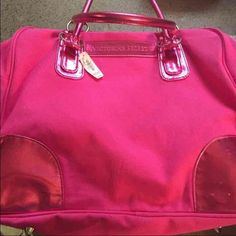 VS Tote ❗️REDUCED This bag has actually never been carried. It hung on the door and the cat put a few small scratches on one corner. Please see the last picture. It's not easily seen. Reflected in price Tags attached 12x16  Striped inside with side pocket.   Smoke free home. Victoria's Secret Bags Totes