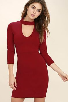 You'll be the envy of everyone in the room in the Seven Wonders Dark Red Bodycon Dress! Medium-weight stretch knit covers a darted, three quarter sleeve bodice with a mock neck, front cutout, and a figure-flaunting skirt. Hidden back zipper/hook clasp.