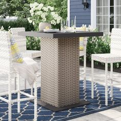 Sol 72 Outdoor™ Rockport 5 Piece Dining Set with Cushions & Reviews | Wayfair Glass Bar Table, Wood Bar Table, Bar Height Table, Wicker Table, Metal Side Table, Solid Wood Dining Table, Bar Tables, Metal Bar, Wooden Bar