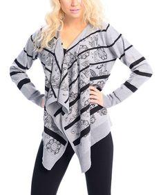 Look at this #zulilyfind! Gray & Black Stripe Sidetail Open Cardigan by VICE VERSA #zulilyfinds