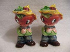 Vintage PY Anthropomorphic Anthro Beet Head Farmer Boys Salt Pepper Shakers