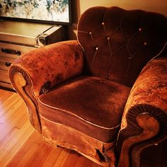 AMAZING vintage European leather + mohair club chair just added to our online store! $975 @ www.randysloan.com