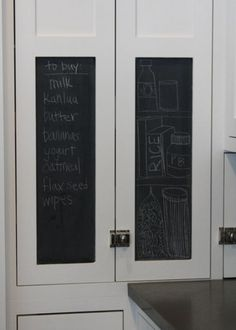 brilliant - instead of a whole chalkboard wall, just do a panel or 2 of a cabinet in a prime location