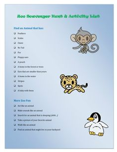 The scavenger hunt really helped my little one look more closely at the animals! {Zoo Scavenger Hunt Wild Animal Activities} free printable hunt to take on your zoo visit great books about the zoo! Animal Activities For Kids, Kids Learning Activities, Summer Activities, Toddler Activities, Toddler Fun, Holiday Activities, Learning Resources, Family Activities, Preschool Activities