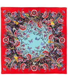 Liberty London Red Paradise Garden Silk Scarf | Scarves | Liberty.co.uk