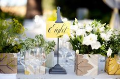 Yellow and Gray Wedding Table Number Cards + Reception Decor