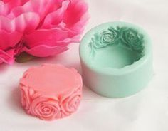 Cylinder Soap Mold With Rose Flower Edge Motif