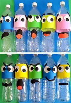 water bottle character faces paper recycle