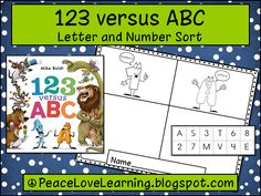 Cute Freebie from Peace, Love and Learning- there are freebies for 3 different books: 123 versus ABC, The Day the Crayons Quit, & Open Very Carefully a Book with Bite