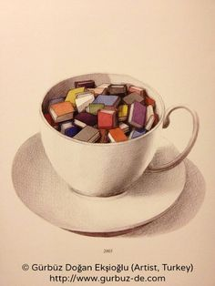 © Gürbüz Doğan Ekşioğlu (Artist, Turkey). Teacup full of books. More on Gurbuz:  http://en.wikipedia.org/wiki/G%C3%BCrb%C3%BCz_Do%C4%9Fan_Ek%C5%9Fio%C4%9Flu  [Do not remove caption. Copyright law requires  you to credit the artist. Link directly to the artist's website.]  PINTEREST on COPYRIGHT: http://www.pinterest.com/pin/86975836526856889  HOW TO FIND the artist who created an image & the original artist's website: http://www.pinterest.com/pin/86975836525507659/