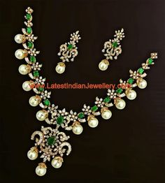 Emerald Necklaces CZ Stone Ruby Emerald Necklace From PSJ ~ South India Jewels Diamond Emerald Necklace Set latest jewelry designs – Jewellery … Diamond Emerald Jewelry, Pearl Jewelry, Pendant Jewelry, Bridal Jewelry, Diamond Jewellery, Silver Jewellery, Antique Jewellery, Silver Rings, Indian Jewellery Design