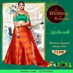 ec34f49e8a9bf  Banarasi Jacquard Lehenga Choli In  Green And  Orange Colour