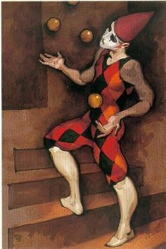 Again I try to juggle too much and I make a fool of myself because I can't get it all done like I would like! Will I learn? Clown Pics, Le Clown, Pierrot, Circus Art, Circus Clown, Illustrations, Illustration Art, Haunted Circus, Art Du Cirque