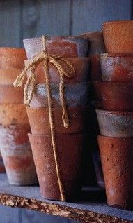 Clay pots For the potting shed. Love the string to tie them together, mine roll all over! Pot Jardin, Potting Sheds, Potting Benches, Pot Plante, My Secret Garden, Clay Pots, Garden Pots, Garden Sheds, Container Gardening