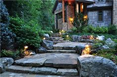 Rugged looking stone steps and entry - love the architecture of the house too! Greenleaf Services Inc. Linville, NC