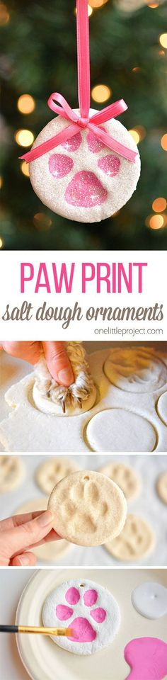 Christmas DIY: These puppy paw prin These puppy paw print salt dough ornaments are SO CUTE! And they're such a fun way to celebrate our furry friends! Such a sweet Christmas keepsake idea! Noel Christmas, Diy Christmas Ornaments, Diy Christmas Gifts, Christmas Projects, Winter Christmas, Christmas Decorations, Ornaments Ideas, Cheap Christmas, Homemade Christmas