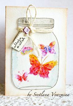 Photo by Svetlana Vyazmina Mason Jar Cards, Mason Jars, Scrapbook Paper Crafts, Paper Crafting, Scrapbooking, Pinterest Cards, Bee Cards, Diy And Crafts, Card Crafts