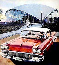 1958 Pontiac Bold New Car New Generation Wife Picks up Husband Vintage Ad Vintage Advertisements, Vintage Ads, Vintage Posters, Cars Usa, Us Cars, Buick, Pontiac Cars, Pontiac Grand Prix, Best Classic Cars