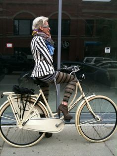 In our latest issue, we were inspired by the chic set on two wheels  so we asked our readers to send in their favorite pics of their own bike  style. Want to share? Just leave us a pic Love the stripe mixing happening here—definitely adds some spirit to the morning ride.  And a friendly reminder—always wear a helmet!!