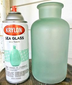 Get the Seaglass Look with Sea Glass Spray Paint and Frosted Glass Spray Paint... http://www.completely-coastal.com/2016/09/seaglass-spray-paint-frosted-glass.html Turn Glass Bottles and Glass Jars into Beachy Vases with Sea Glass Spray Paint!