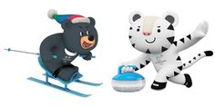 Pyeongchang 2018 mascots doing games