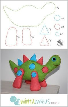 Lovely felt dinosaur with free pattern. See full project here… Felt Patterns Free, Sewing Patterns, Free Pattern, Sewing Stuffed Animals, Stuffed Animal Patterns, Small Sewing Projects, Crafty Projects, Sewing Toys, Sewing Crafts