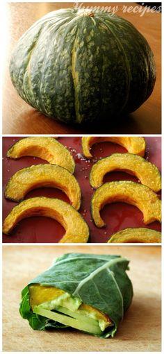 Hazelnut Roasted Kabocha Squash, Cucumber and Avocado Collard Wrap