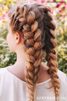 How to: Double Dutch Braid Hair Tutorial Luxy Hair Extensions in the Shade Dirty Blonde to create these beautiful double braids. Eyebrows, Luxy Hair Extensions, Double Dutch Braid, Braut Make-up, Braided Hairstyles Tutorials, Hair Blog, Hair Today, Braid Styles, Flowers In Hair