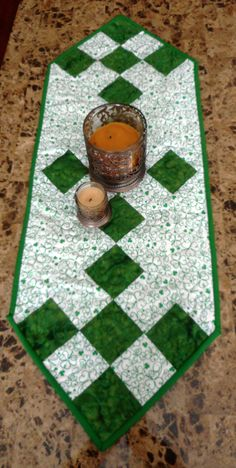 St. Patrick's Day table runner, Shamrocks, green and white, Quilted runner by ShirleyCQuilts on Etsy