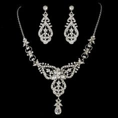 Antique Silver Clear Necklace Earring Set 8393