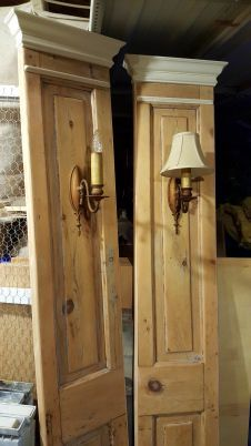 Sconces attached to old doors. Great idea for moving sconces where you need them… Old Shutters, Farmhouse Shutters, Repurposed Shutters, Rustic Shutters, Farmhouse Decor, Red Farmhouse, Old Door Projects, Furniture Projects, Furniture Makeover