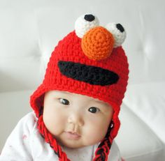 Elmo Hat, Monster Hat, Crochet Baby Hat, Animal Hat, photo prop, red, Inspired by Elmo on Sesame Street. $24.99, via Etsy.