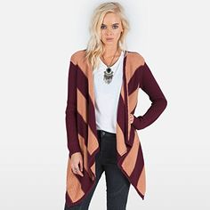 Volcom Juniors Fireside Wrap Cardigan Sweater, Merlot, X-Small/Small