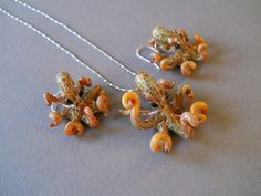 Butterscotch spotted Octopus Pendant or Earrings or complete set