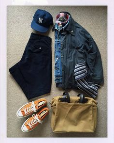 Today's Outfit. Oiled Jacket 70505 Cut Off Denim Vest Flannel Work Shirts BaseBall Cap Cotton Scarf Indigo Dyed Corduroy Trousers Zippered Tote. Baseball Cap Outfit, Daily Fashion, Mens Fashion, Outfit Grid, Cotton Scarf, Men Style Tips, Work Shirts, Classic Outfits, Men Casual