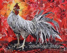 Original wall art and fine art prints of a rooster on a red background made from torn magazines.