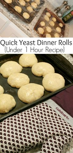 "Quick Yeast Dinner Rolls Recipe | Homemade Rolls in Under 1 Hour! These were SO GOOD my family ate the entire batch and I didn't even get a ""Real"" photo because they were gone before I realized it!"
