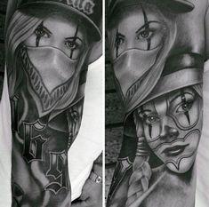 Realistic Females Chicano Mens Sleeve Tattoos