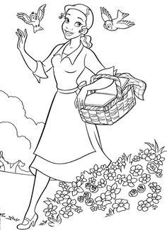 Tuhkimo-värityskuva. Cinderella colouring. Lasten Oman ...